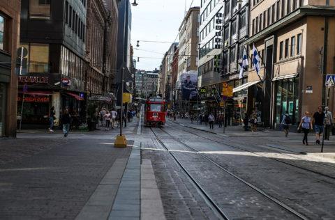 Street wiev with red Tram – Punainen ratikka